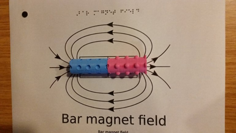 Magnet poles diagram, using brail and 3D stimulus